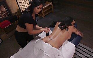 Mia Li & Honey FoXXX in Erotic Nuru Massage On A Hot Ts With Huge Cock - TSPussyHunters