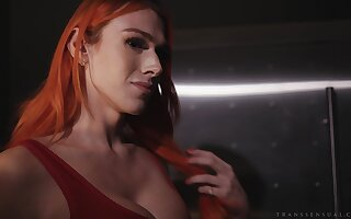 Redhead shemale Aspen Brooks enjoys having sex with her kinky lover