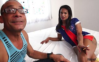 Bootylicious eye catching brunette shemale Melk Ross is pounded doggy hard