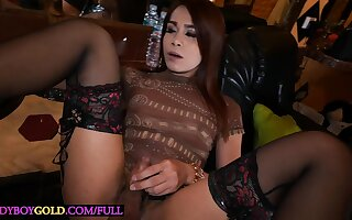 Hairy flannel Asian ladyboy fucked bareback