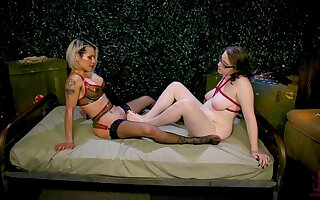 Unsightly making out on the floor between shemale TS Foxxy and Misfire Jane Judge